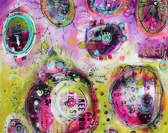 10 x 10 Colorful purple and green  abstract Podtastic PRINT  by  Jodi Ohl