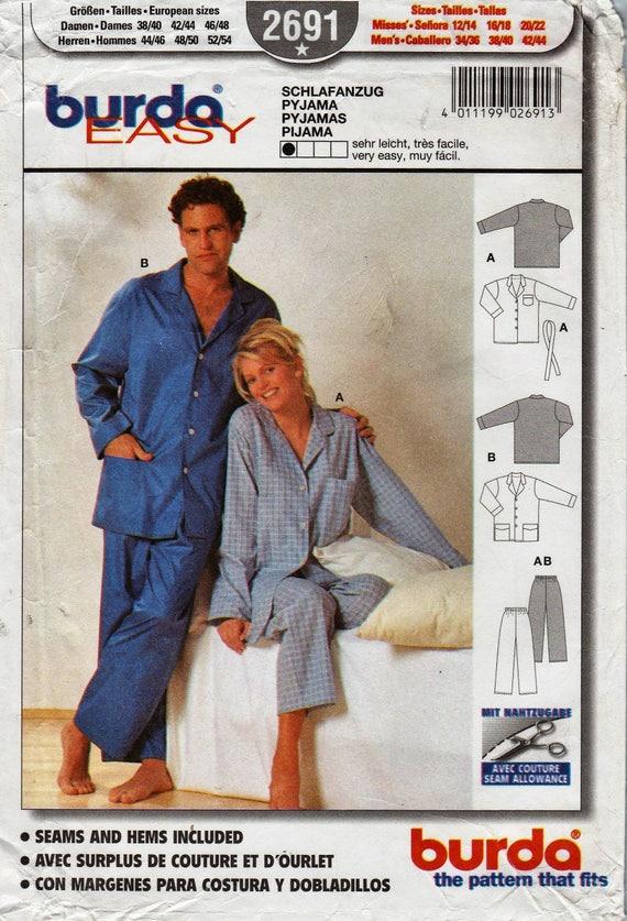 Burda patrones costura 2691 / Unisex / pijamas para hombres o ...
