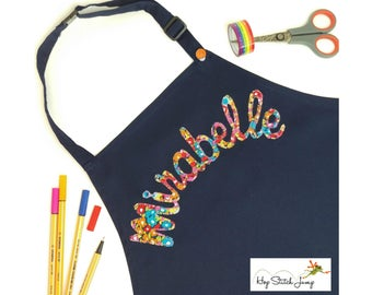 Personalised Children's Apron - custom kids name pinny for cooking, baking, painting, arts and crafts, stocking filler, gifts for kids