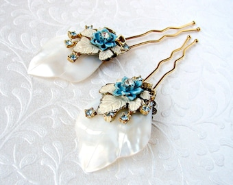 Blue Floral Wedding Hair Comb Mother Of Pearl Shell Vintage Rhinestone Jewelry Bridal Hairpiece Island Paradise Bohemian Chic Beach Bride