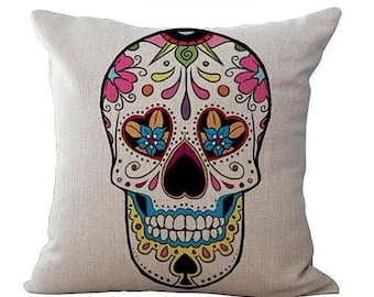Decorative Pillow Cases Sugar Skull Day of The Dead Skull Flowers