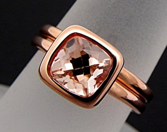 AAAA Cushion Cut Natural Untreated Peach morganite   7x7mm  1.58 Carats   in a 14K Rose gold bridal set. 2050