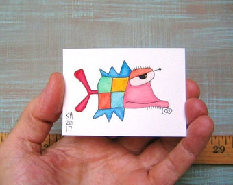 Fish-J56, Original ACEO Watercolor, Art Trading Card, Miniature Painting, by Fig Jam Studio