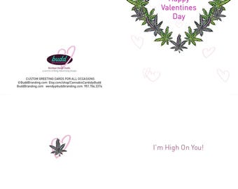 PRINT at HOME  Digital DOWNLOAD Cannabis Valentine Card heart