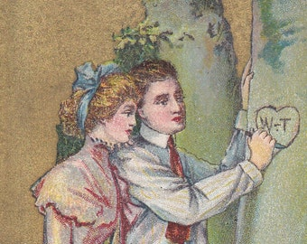 """Ca. 1912 """"Lady And Man Carving Initials in a Tree"""" Valentine Greetings Postcard - 2072"""