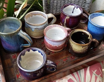 Wheel Thrown Ceramic Mugs in a Variety of Colors and Shapes, Pottery Mugs, Stoneware Mugs