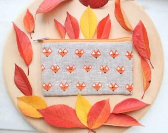 Fox purse Fox coin pouch Fox zipper pouch Linen coin purse Linen pouch Credit Cards case Makeup bag Eco-friendly gift For girl For mom