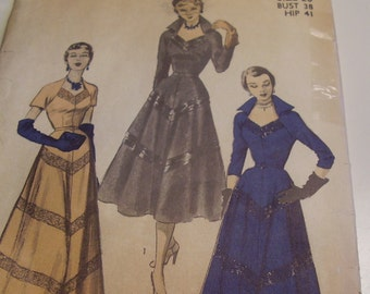 Vintage 1940's, 50's Advance 5635 Dinner and Evening Dress Sewing Pattern, Size 20, Bust 38