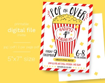 Popcorn and Movie Party Birthday Invitation DIGITAL FILE movie party invite popcorn party drive in birthday party popcorn theme party