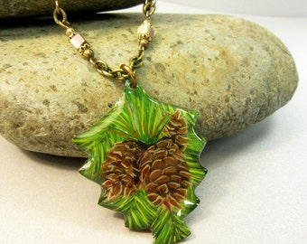 Pine Cone Pendant, Pine Cone Necklace, Handpainted Pine Cone Jewelry, Mocha Mint Jasper, Nature Jewelry, Resin Jewelry