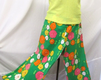 Vintage 1960's Bell Bottom Pants Textured Cotton Slacks Bright Colors Psychedelic Flower Power Era ~ Hippy and Happy Small Size
