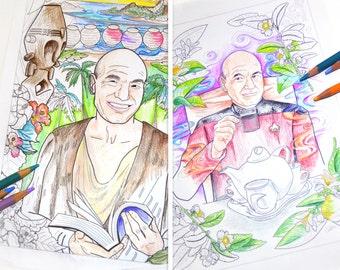 Star Trek, Captain Picard, Art Print Set, 2 funny adult coloring sheet pdfs , printable instant download