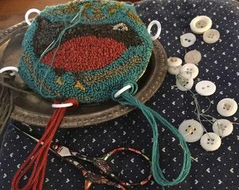 Spring Robin punch  needle/pinkeep/thread keep tuffet