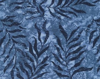 Tranquility Lake Leaves by Wing and a Prayer Design - Timeless Treasures #C6056 Lake - Blue Tonal Leaves Cotton Fabric - By the Yard