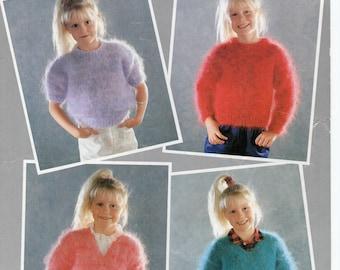 "Childrens Mohair Jumper knitting pattern PDF Girls Mohair Sweater 22-32"" 10Ply Mohair Childrens Knitting Patterns PDF Instant Download"