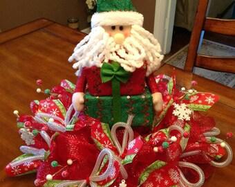 Christmas Centerpiece, Winter Centerpiece, Christmas Decor, Christmas Table, Winter Decor, Table Centerpiece, Santa Centerpiece, Deco mesh