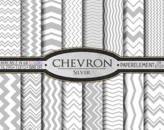 Silver Chevron Digital Paper Pack - Silver Scrapbook Paper - Chevron Stripes Wedding Patterns - Pale Gray Commercial Use Seamless Graphics