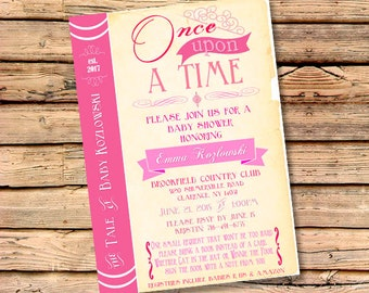 PRINTABLE or PRINTED Book Themed Baby Shower Party Invitation / Once Upon a Time / Story Time / Literary, Storytime / Book Theme / Invites
