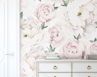 Peony Flower Mural Wallpaper, Pink, Watercolor Peony Extra Large Wall Art, Peel and Stick Wall Poster