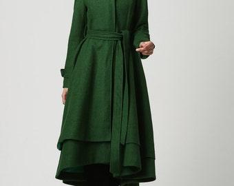 wool coat, green coat, long coat, green wool coat, winter coat , wool coat women, warm winter coat, made to order, long wool coat (1112)