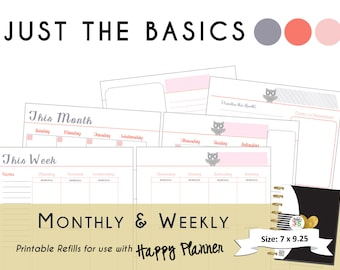 "Happy Planner PRINTABLE Monthly / Weekly Planner Refills - PDF  7 x 9.25 ""Just the Basics"" 