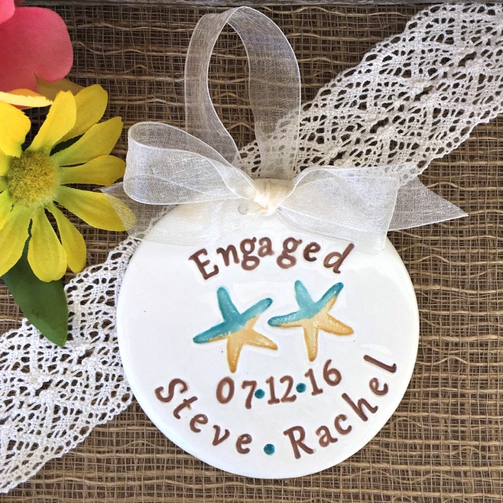 Beach Themed Star Fish Engagement Ornament Personalized