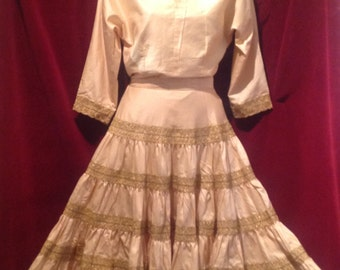 1950s Mexican Dress - Yellow with GOLD Embroidery  / Long Sleeve Patio Squaw Dress / Cow Girl Dress.