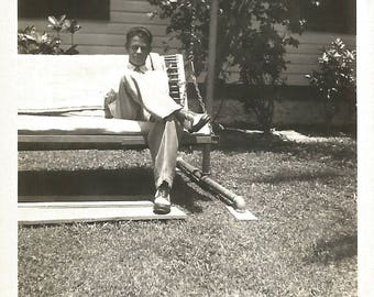 """Vintage Snapshot """"Laid Back"""" Handsome Man Two-Tone Shoes Oxfords Porch Swing Found Vernacular Photo"""
