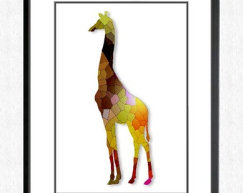 The STAINED GLASS GIRAFFE - Wall Art Print - Poster - Art Print