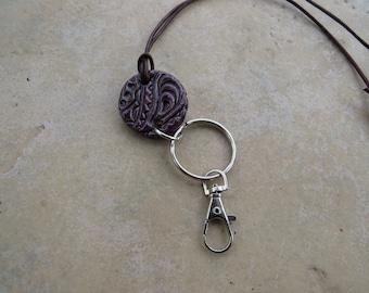 Essential Oils Badge Holder Pendant, ID Perfume Pendant, Purple PaisleyPendant, Aromatherapy Jewelry