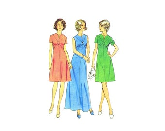 1970s Simplicity 6274 Dress with Front Seam Interest Look Slimmer Vintage Sewing Pattern Size 12 Bust 34