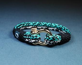 Sport Bracelet / Bracelet Paracord / Bracelet Cuff / Surfing Bracelet/ Nautical Jewelry / Minimalist bracelet / Women Bracelet / Green