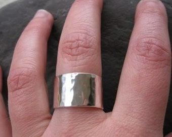 Wide Hammered Sterling Silver Wedding Band . personalized with your words . stamped message . made in your size