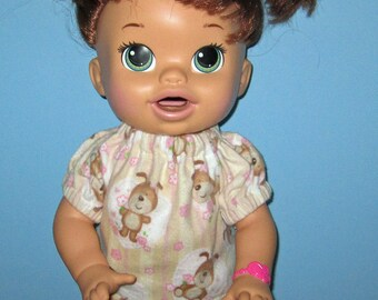 Snackin Sara Baby Alive, Puppy Dog Pink Pajamas, Fits 15 16 Inch Doll,Doll Clothes, Handmade