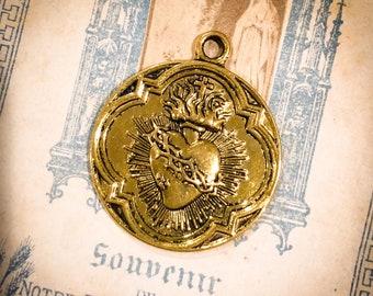 1pc SACRED HEART MEDAL Sacre Coeur Religious 300 Indulgences Gold