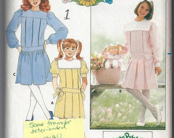 Butterick 3140 Pattern for Girls' Dress & Transfer, Matching Cabbage Patch Pattern, Size 7, From 1985, Vintage Pattern, Home Sewing Pattern