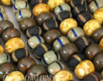 Boho Chic - Aged Striped 1/0 Czech Glass Rocaille Seed Bead Mix (40) 6.5mm Bohemian Earthy Tribal Rustic Picasso - Central Coast Charms