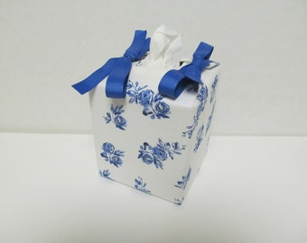 Tissue Box Cover/Blue Rose