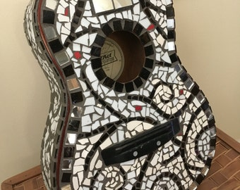 Mosaic guitar,tile guitar,mosaic handmade guitar,black and white guitar,unique guitar,music art,guitar art,rock n roll mosaic