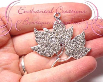 "1.5"" Rhinestone Maple Leaves, Fall or Winter Chunky Pendant, Keychain, Bookmark, Zipper Pull, Chunky Jewelry, Purse Charm"