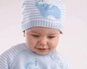 Hand-knit blue elephant sweater for babies- Personalized