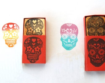 2 Sugar skull Love Birds stamp set - El Dia de los Muertos  Hand carved rubber stamp set