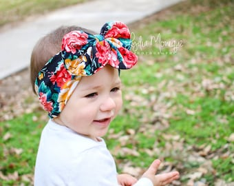 Baby girl headbands, black red flower bow head wrap, baby head wrap, messy bow, baby bow headband, easter outfit, first easter headband