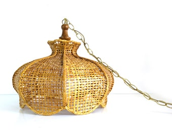 Vintage Rattan Swag Lamp / Bohemian wicker hanging light