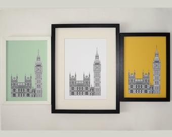 Big Ben Print, London Print, London drawing, art print, Elizabeth Tower, Picture of Big Ben, England, Illustration of London, Westminster