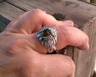 artisan fine silver sunflower ring boasts a bit of cz sparkle