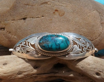 Turquoise Sterling Silver Bracelet - Turquoise Cuff