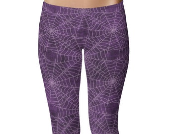 Spider Web Leggings, Halloween Leggings, Goth Leggings, Purple Yoga Pants, Printed Tights