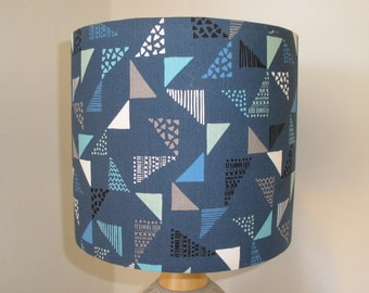 Navy Retro Geometric Triangles: 20cm handmade lampshade
