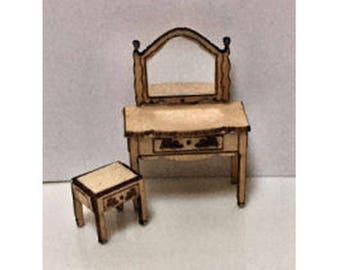 Quarter Inch Scale Renaissance Dressing Table and Bench Dollhouse Furniture Kit.